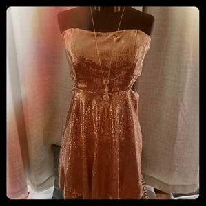 Sequined Rosegold Strapless Dress